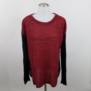 Sanctuary Sweater S Sheer Red Black Heather Knit T